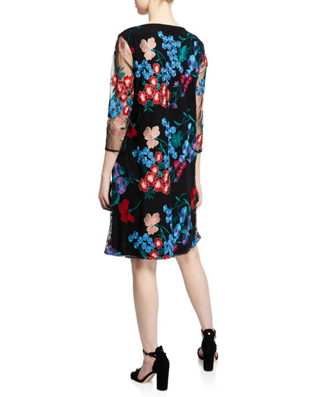 Caroline Rose Fresh Flower Embroidered 3/4-Sleeve Dress