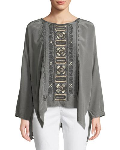 Petite Alka Bateau-Neck Long-Sleeve High-Low Silk Blouse w/ Embroidery