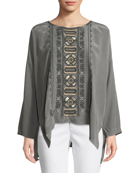 Johnny Was Petite Alka Bateau-Neck Long-Sleeve High-Low Silk Blouse w/ Embroidery