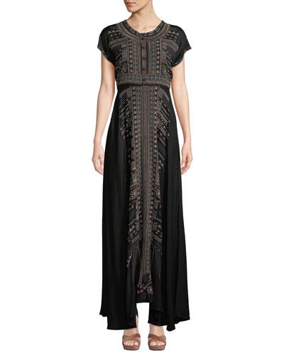 Effy Short-Sleeve Ikat-Embroidered Stretch Challis Maxi Dress