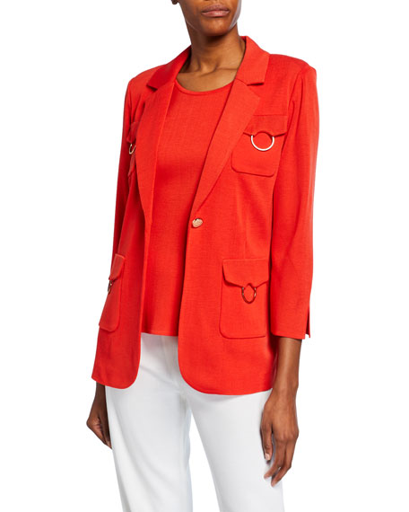 Misook 3/4-Sleeve One-Button 4-Pocket Jacket with Golden Ring Detail