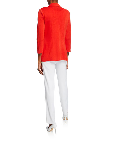Misook Petite 3/4-Sleeve One-Button 4-Pocket Jacket with Golden Ring Detail