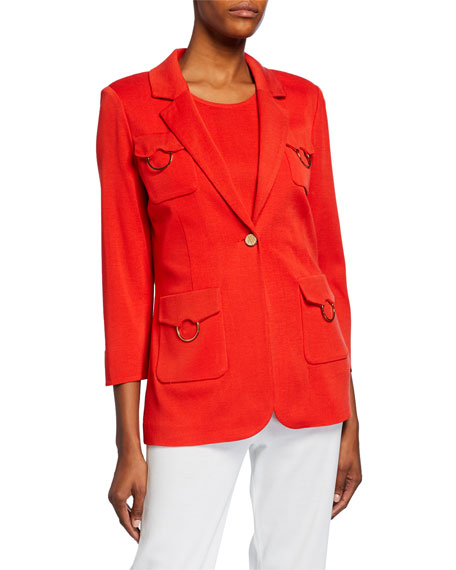 Misook Plus Size 3/4-Sleeve One-Button 4-Pocket Jacket with Golden Ring Detail