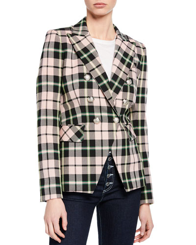 Miller Plaid Double-Breasted Dickey Jacket