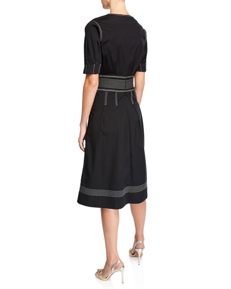 Veronica Beard Salome Pleated A-Line Belted Short-Sleeve Dress