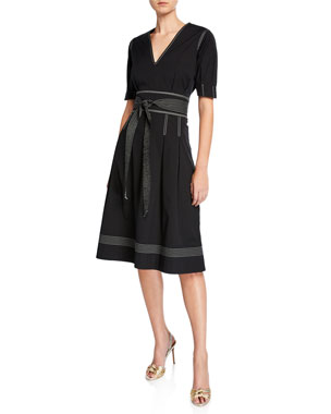b2f5f038ab2 Veronica Beard Salome Pleated A-Line Belted Short-Sleeve Dress