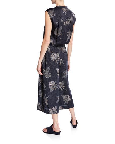 Vince Woodblock Floral Sleeveless Jumpsuit