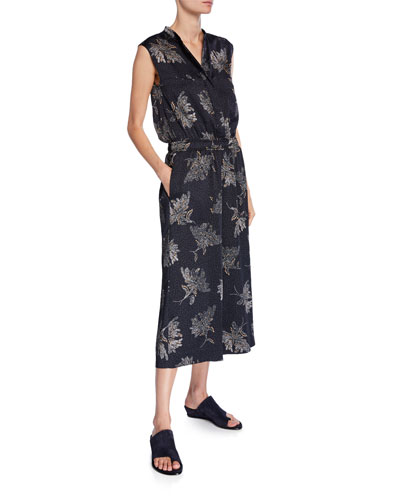 Woodblock Floral Sleeveless Jumpsuit