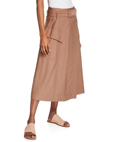 Belted Midi Utility Skirt