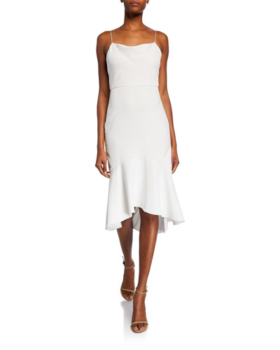 Adrina Cowl-Neck Spaghetti-Strap High-Low Midi Dress