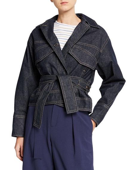 Vince Belted Button-Front Denim Utility Jacket