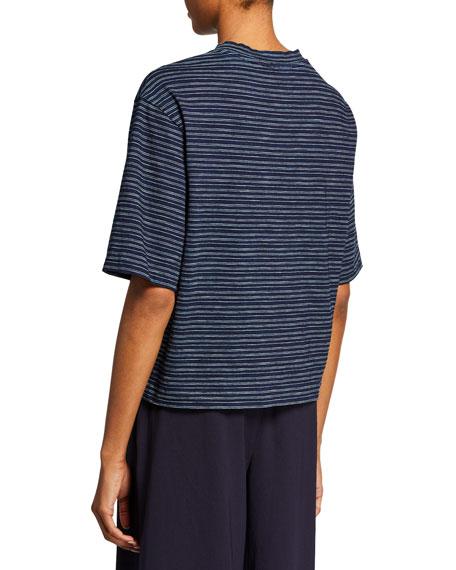 Vince Indigo-Striped Crewneck Wide-Sleeve Cropped Tee