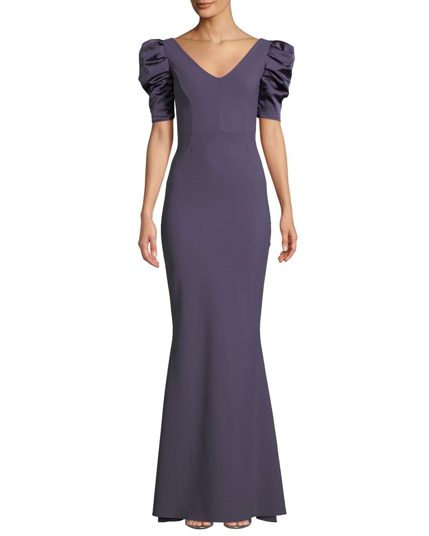 50013468e91310 Chiara Boni La Petite Robe Meve V-Neck Shirred Satin-Sleeve Mermaid Gown