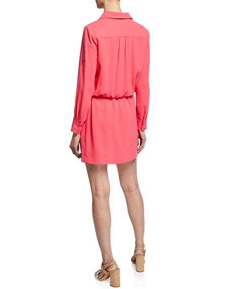 Trina Turk Permit Long-Sleeve Crepe Dress w/ Drawstring-Waist