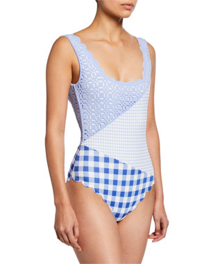 3bede24652 Marysia Wainscott Scalloped Check One-Piece Swimsuit