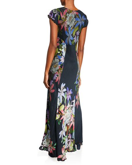 Johnny Was Kelly Scarf-Print Short-Sleeve Maxi Dress