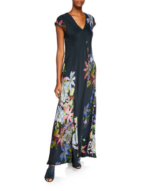 03688fb5b777 Johnny Was Kelly Scarf-Print Short-Sleeve Maxi Dress