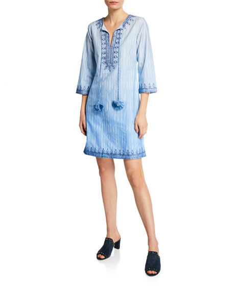 Bella Tu Heather Split-Neck 3/4-Sleeve Embroidered Cotton Dress w/ Tassel Ties