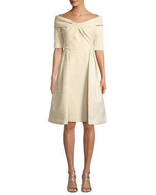 a38449b60ee Rickie Freeman for Teri Jon Off-the-Shoulder Elbow-Sleeve Fit-and