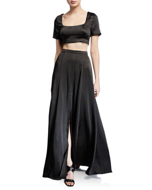16f929953 Fame and Partners The Zita Two-Piece Satin Twill Crop Top & Skirt Set