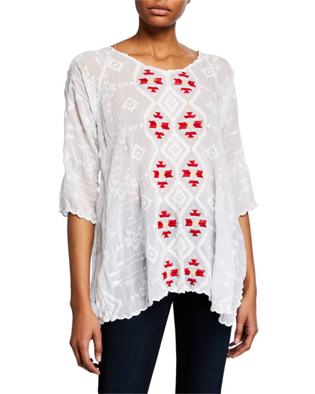 Johnny Was Asher 3 4-Sleeve Embroidered Tunic 2378db4d84c0