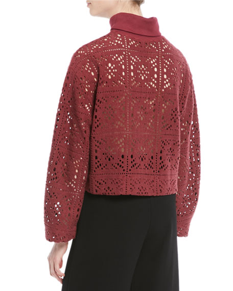 See by Chloe Turtleneck Long-Sleeve Cutout Sweater