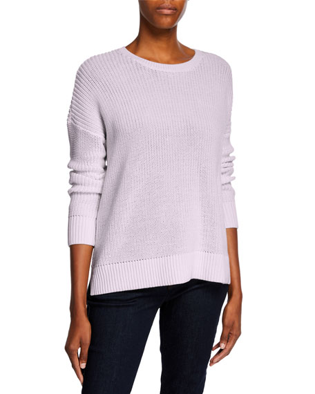 Eileen Fisher Boat-Neck Long-Sleeve Organic Cotton Sweater, Plus