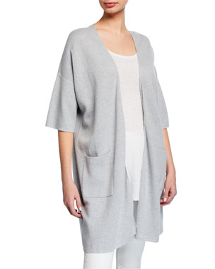 c85d2d0acb6 Eileen Fisher Open-Front Elbow-Sleeve Long Cardigan