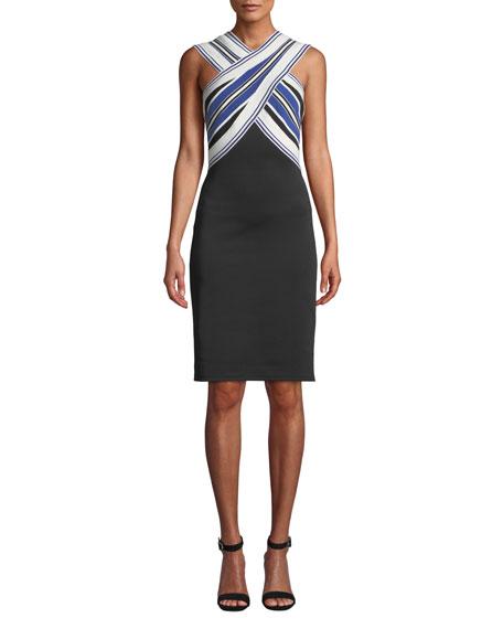 Tadashi Shoji Striped Halter-Neck Dress w/ Contrast Skirt