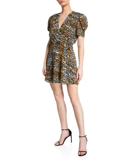 Saloni Lea Silk Animal-Print Wrap Dress