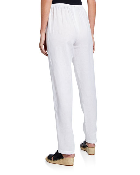 Image 2 of 3: Caroline Rose Tissue Linen Slim-Leg Pants
