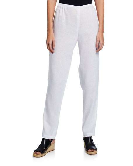 Image 1 of 3: Caroline Rose Tissue Linen Slim-Leg Pants