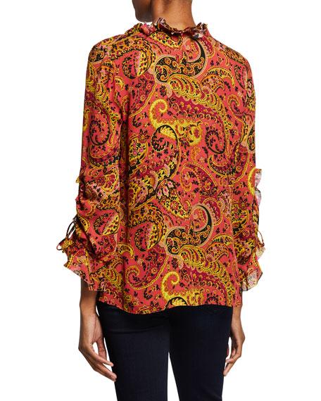 Kobi Halperin Gia Paisley-Print Long-Sleeve Silk Peasant Blouse