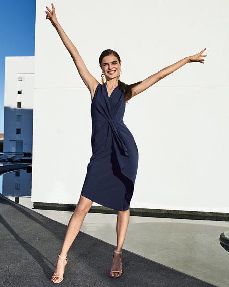 Elie Tahari Adrianne V-Neck Sleeveless Asymmetric Cocktail Dress