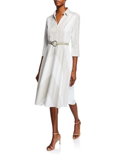 Candence Striped V-Neck 3/4-Sleeve Belted Dress