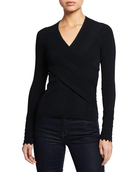 Elie Tahari Madeline V-Neck Long-Sleeve Surplice Sweater