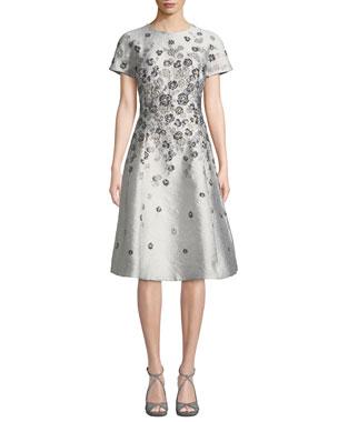05b8e2ff8797 Rickie Freeman for Teri Jon Short-Sleeve 3D Floral-Embroidered Jacquard  A-Line