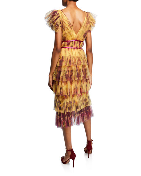 Marchesa Notte Floral-Print Flutter-Sleeve Pleated Cocktail Dress w/ Tiered Skirt