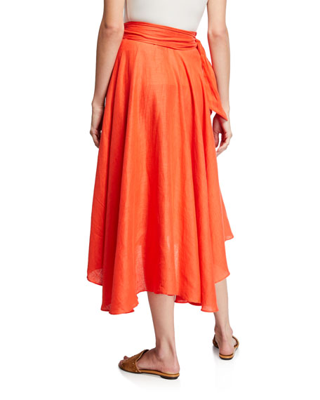 Miguelina Gale Belted Linen Midi Skirt