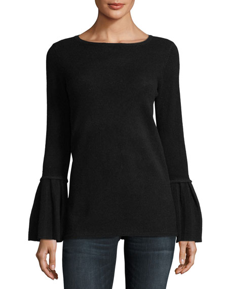 Neiman Marcus Cashmere Collection Pleated Bell-Sleeve Boat-Neck Cashmere Sweater