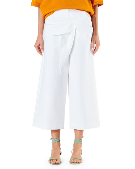Tibi Demi Cotton Suiting Cropped Pants w/ Front Tie