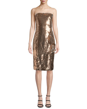 f15c7834731 Parker Black Noelle Sequined Strapless Knee-Length Cocktail Dress