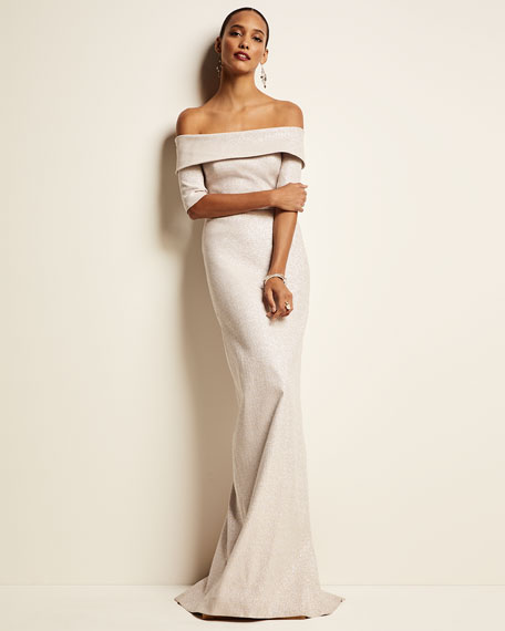 Rickie Freeman for Teri Jon Off-the-Shoulder Short-Sleeve Metallic Jacquard Column Gown