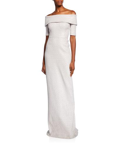 Off-the-Shoulder Short-Sleeve Metallic Jacquard Column Gown