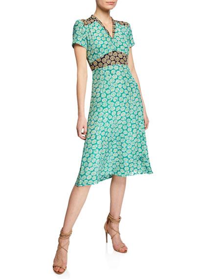 HVN Morgan Daisy-Print Silk V-Neck Dress