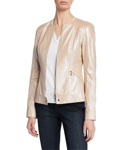 Mick Zip-Front Pearlized Nappa Lambskin Leather Jacket