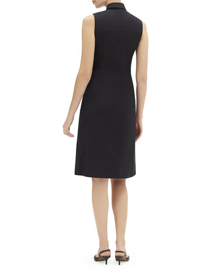 Lafayette 148 New York Cabella Sleeveless Tie-Front Stretch-Cotton Shirtdress