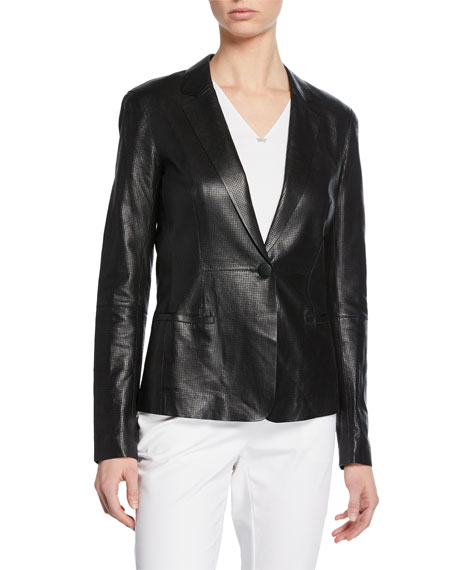 Lafayette 148 New York Nikala Napa Lambskin Perforated Leather Jacket