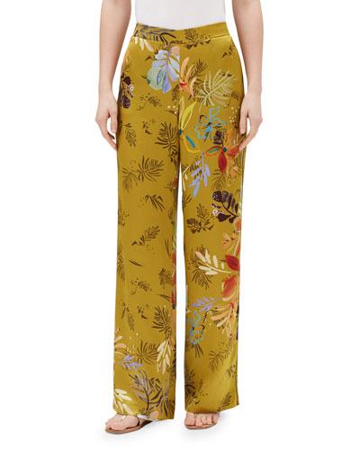 Columbus Bouquet-Print Wide-Leg Drape Cloth Pants