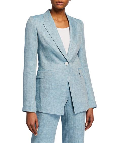 Lafayette 148 New York Heather Bravado Italian Linen Jacket